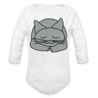 Sleeping Cat - Long Sleeve Baby Bodysuit