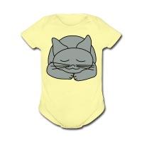 Sleeping Cat - Short Sleeve Baby Bodysuit