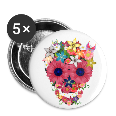 skull flowers by wam Buttons