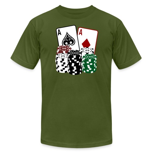 Poker Cards with Chips - Men's Fine Jersey T-Shirt
