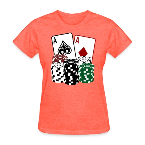Poker Cards with Chips - Women's T-Shirt