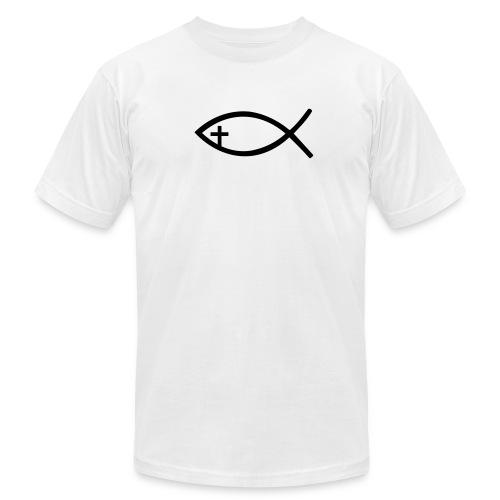 Men's T-Shirt by American Apparel Black Christian Fish - Men's Fine Jersey T-Shirt