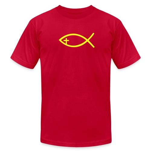Men's T-Shirt by American Apparel Yellow Christian Fish - Men's Fine Jersey T-Shirt
