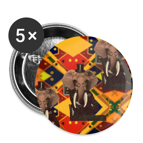 Tribal Elephant Pins (5) - Buttons large 2.2'' (5-pack)