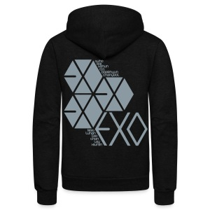 [EXO] Hexagons (Metallic Silver) - Unisex Fleece Zip Hoodie by American Apparel