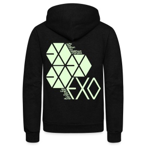 [EXO] Hexagons (Glow in the Dark) - Unisex Fleece Zip Hoodie by American Apparel