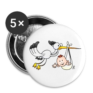 Stork with baby - Large Buttons