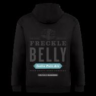 Zip Hoodies & Jackets ~ Men's Zip Hoodie ~ Men's Zipper Hoddie with Freckle Belly (back) logo