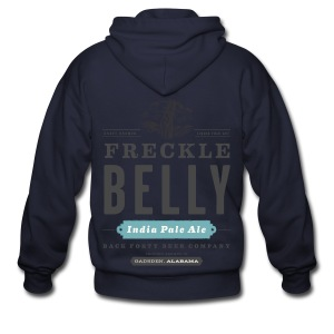 Men's Zipper Hoddie with Freckle Belly (back) logo - Men's Zip Hoodie