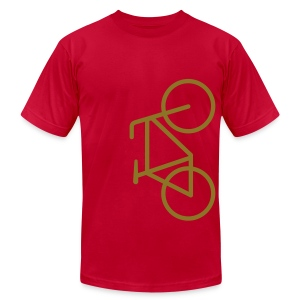 Bike Lane Metallic Gold - American Apparel AA Shirt (M) - Men's Fine Jersey T-Shirt