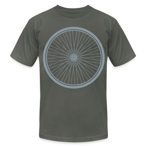 Bike Wheel Silver- American Apparel AA Shirt (M) - Men's T-Shirt by American Apparel
