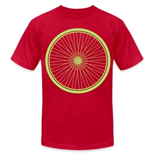 Bike Wheel Lime- American Apparel AA Shirt (M) - Men's Fine Jersey T-Shirt