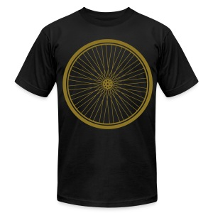 Bike Wheel Gold- American Apparel AA Shirt (M) - Men's T-Shirt by American Apparel