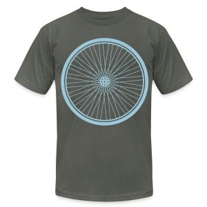 Bike Wheel Sky- American Apparel AA Shirt (M) - Men's Fine Jersey T-Shirt