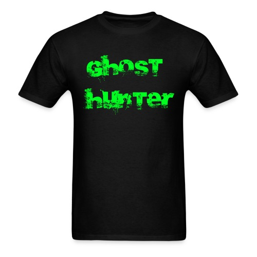 Ghost hunter with green letters  - Men's T-Shirt