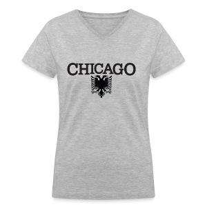 Chicago Albanian Flag - Women's V-Neck T-Shirt