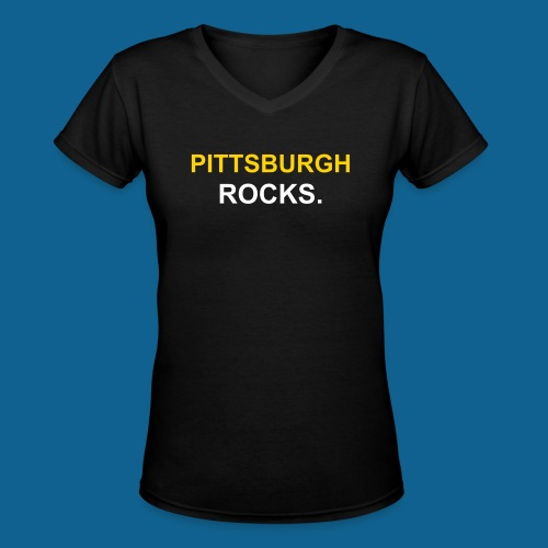 go stillers pittsburgh rocks tee - Women's V-Neck T-Shirt