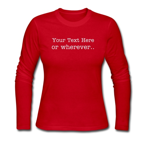 Custom Text Women's LS Jersey Tee - Women's Long Sleeve Jersey T-Shirt