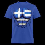 T-Shirts ~ Men's T-Shirt ~ Greece Flag Ripped Muscles, six pack, chest t-shirt