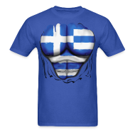 T-Shirts ~ Men's T-Shirt ~ Greece Flag Ripped Muscles, six pack, chest t-shirt