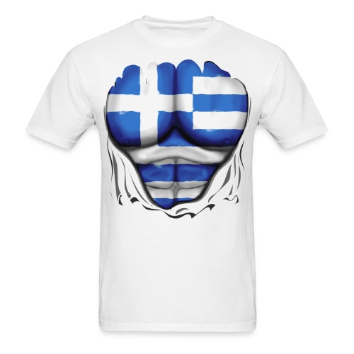 Greece Flag Ripped Muscles, six pack, chest t-shirt - Men's T-Shirt