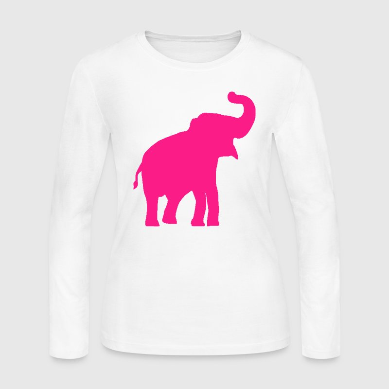 Pink Elephant Design Long Sleeve Shirts - Women's Long Sleeve Jersey T-Shirt