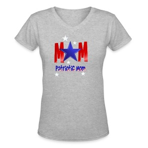 Mom-Patriot Mom - Women's V-Neck T-Shirt