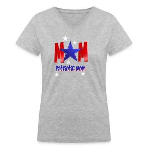 Mom-Patriot Mom - Women's V-Neck T-Shirt