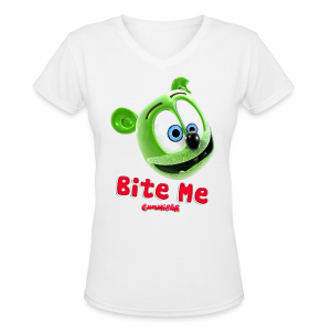 Bite Me Ladies V-Neck T-Shirt - Women's V-Neck T-Shirt