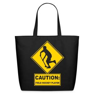 Caution: Field Hockey Player Cotton Tote Bag - Eco-Friendly Cotton Tote