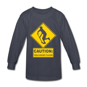 Caution: Field Hockey Player Kids' Long Sleeve T-Shirt - Kids' Long Sleeve T-Shirt