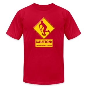 Caution: Field Hockey Player Men's American Apparel T-Shirt - Men's T-Shirt by American Apparel