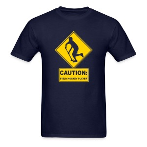 Caution: Field Hockey Player Men's Standard Weight T-Shirt - Men's T-Shirt
