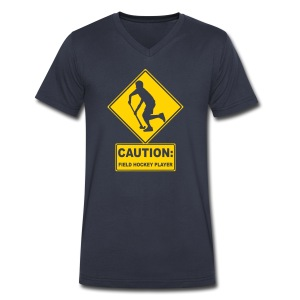Caution: Field Hockey Player Men's V-Neck T-Shirt - Men's V-Neck T-Shirt by Canvas