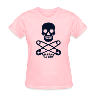 T-Shirts ~ Women's T-Shirt ~ black glitter print Skull n Safety Pins SmarmyClothes tee