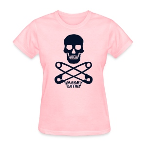 black glitter print Skull n Safety Pins SmarmyClothes tee - Women's T-Shirt