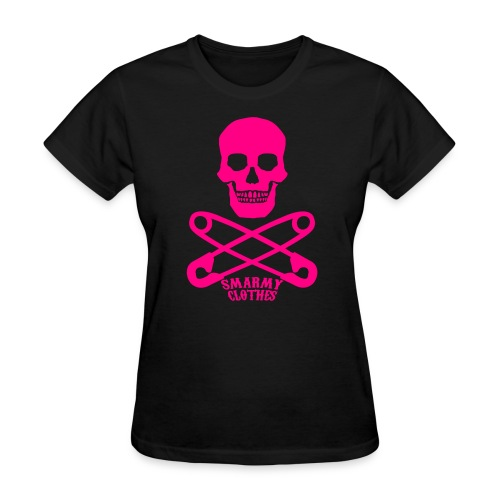hot pink Skull n Safety Pins SmarmyClothes tee - Women's T-Shirt