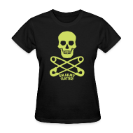 T-Shirts ~ Women's T-Shirt ~ lime sparkle print Skull n Safety Pins SmarmyClothes tee