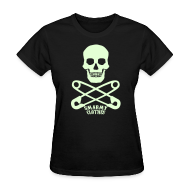 T-Shirts ~ Women's T-Shirt ~ glow in the dark Skull n Safety Pins SmarmyClothes tee