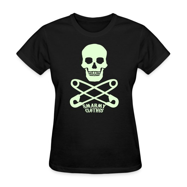 glow in the dark Skull n Safety Pins SmarmyClothes tee
