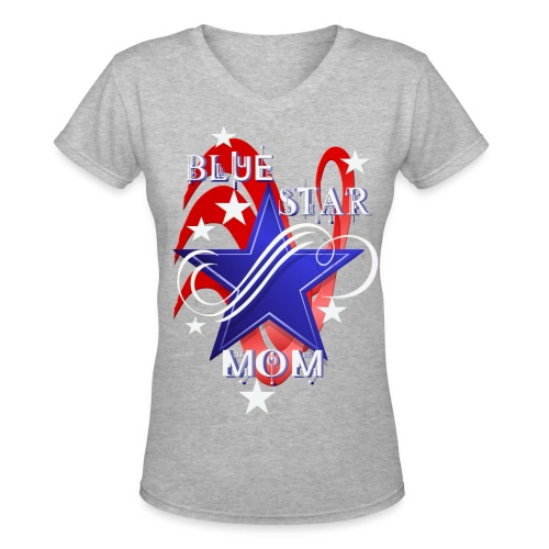Fancy Blue Star Mom - Women's V-Neck T-Shirt