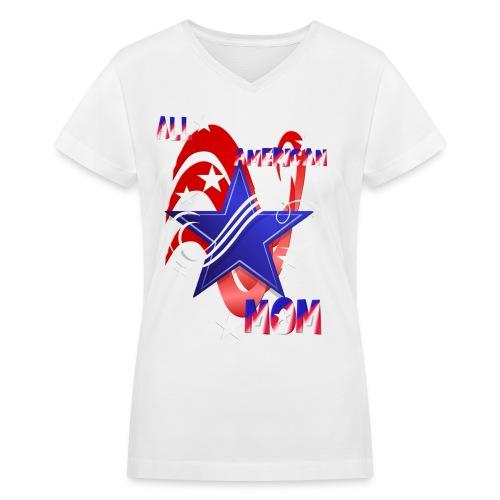 An American Mom - Women's V-Neck T-Shirt