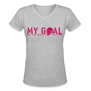 My Goal Is To Deny Yours (Lax) Women's V-Neck T-Shirt - Women's V-Neck T-Shirt