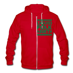 Unisex Liquid Folk Art logo (front) and Liquid Folk Art (back) - Unisex Fleece Zip Hoodie by American Apparel
