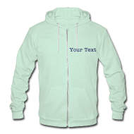 Zip Hoodies & Jackets ~ Unisex Fleece Zip Hoodie by American Apparel ~ Unisex Zip Hoodie with Liquid Folk Art (back) CUSTOM text (front)