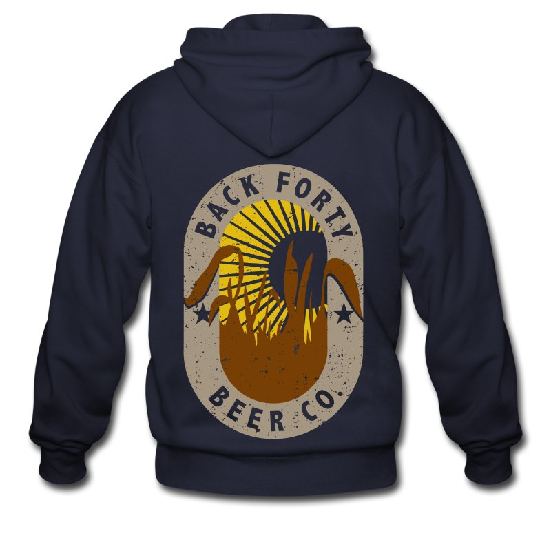 Men's Zipper Hoddie BFBC logo (back) Liquid Folk Art (front) - Men's Zip Hoodie