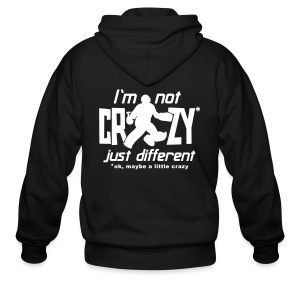 I'm Not Crazy (field hockey) Men's Zipper Hoodie (back print) - Men's Zip Hoodie