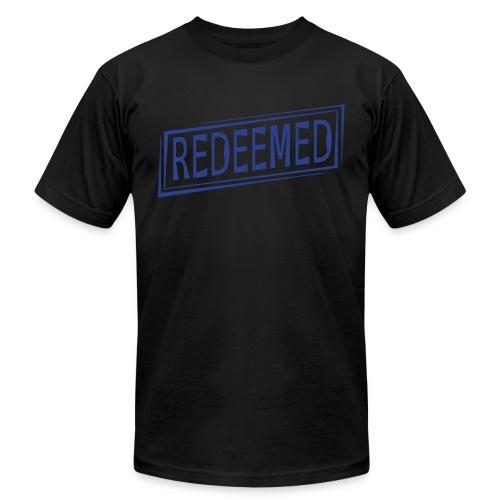 Men's American Apparel T-Shirt - Redeemed - Black/Blue - Men's Fine Jersey T-Shirt