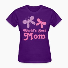 Worlds Best Mom Butterflies Women's T-Shirts