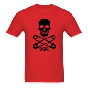 mens Skull n Safety Pins SmarmyClothes tee - Men's T-Shirt
